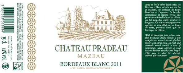 Château Pradeau Mazeau Blanc